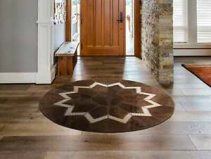 AYDIN Luxury Ethically Sourced Round Cowhide Patchwork Area Rug, Hair-On-Hide, D