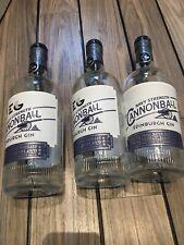 3 Empty Edinburgh Cannonball Gin Bottles Upcycle wedding Centre Craft Display