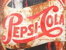 "TIN SIGN ""Pepsi Cola Rust"" Beverage Signs Garage Wall Decor"