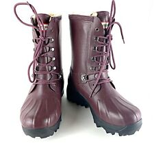 Hunter Rain Snow Winter Duck Boots Shearling Lined Lace Up Women's 7 EUR 39