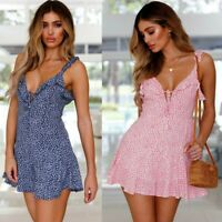 UK Womens Floral Print V Neck Ladies Frill Beach Holiday Summer Mini Dress