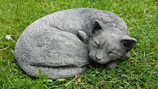 SLEEPING CURLED UP CAT Cast Stone Garden Ornament Sculpture Animal ⧫onefold-uk