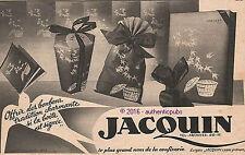 PUBLICITE JACQUIN CHOCOLATS BOITE A BONBONS CONFISERIE DE 1936 FRENCH AP PUB