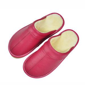 Genuine Leather House Slippers Men Women Unisex Winter Warm Flat Shoes Indoor