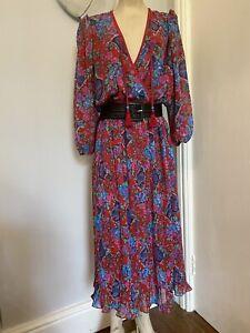 Diane Freis Boho Hippy Floral 80s vintage midi dress size 14 UK Ethnic