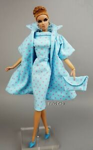 Handmade Blue Coat Dress Outfit For Silkstone Vintage Style Fashion Royalty FR