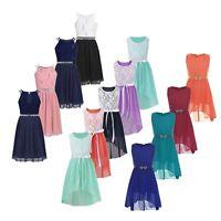 Girls Lace Flower Bridesmaid Chiffon Dress Party Princess Prom Wedding Ball Gown