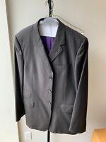 Paul Smith Black Purple Pinstripe  Wool 2pc SUIT Jacket Pants 46R 56 EU XL Mint