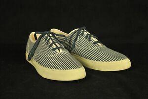 Double RL RRL Ralph Lauren Blue & Cream Hickory Stripe Canvas Sneakers 10/11