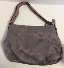Coach 24 Signature Duffle Shoulder Crossbody Purse F15067 Grey Lilac Purple #1