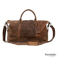 Porterbello Brown Leather Holdall Duffle Weekend Bag 7069ad1412881
