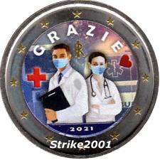 NEW !!! 2 EURO COMMEMORATIVO ITALIA 2021 FDC Professioni Sanitarie Colorato