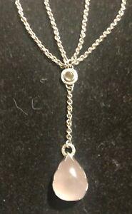Jodi Rae Brownstein Sterling and Pink Quartz Lariat Necklace Teardrop Pendant