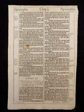 1611 KING JAMES BIBLE PAGE * LOT OF  2 CONTIGUOUS LEAVES FROM TOBIT 1:15-6:10 *
