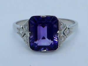 THE ULTIMATE ART DECO AMETHYST & DIAMOND RING IN PLATINUM #074