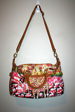 Womens ARTISTIC EXPRESSIONS By SHARIF Handpainted Giraffes Leather Shoulder Bag