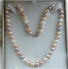 """8-9mm Natural Multicolor Akoya Cultured Pearl Necklace 18"""" Hand Knotted"""