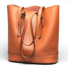 Women Genuine Leather Shoulder Tote Handbag Shopping Large Capacity Bucket Bag