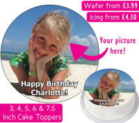 YOUR OWN PERSONALISED PHOTO EDIBLE WAFER & ICING CAKE TOPPERS BIRTHDAY PARTY
