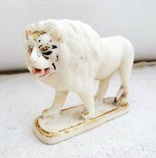 1920s Vintage Original Handmade & Painted Marble Stone Fierce Lion Statue Figure
