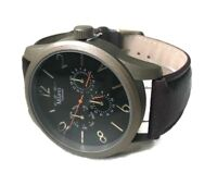 Men's Casual Watch Milano MC45293 Brown Faux Leather Band Water Resistant 1ATM