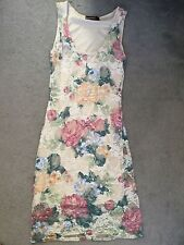 FLORAL LACE SLEEVELESS DRESS WITH BEIGE LINING BEHIND - SIZE 8-see measurements