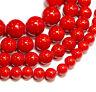 Rote Mashan Jade Perlen 4 - 20 mm Kugeln, 1 Strang BACATUS #2033