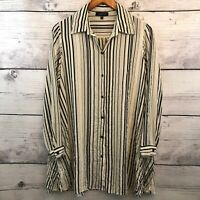 Comfy USA Striped Crinkle Tunic Top Dress Womens Small Black Ivory Long Sleeve