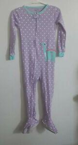 CARTER'S baby girl size 3T purple/blue w/white polka-dot DINOSAUR footed pajamas