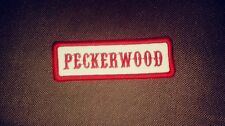 Peckerwood Patch, Colors are Red & White Name Tape 1%er Patch Biker