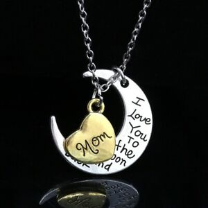 I Love You To the moon and back Engraved Pendant Necklace Mum Daughter Xmas Gift