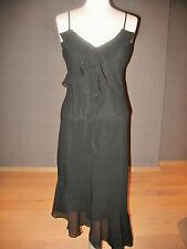 Mooie zwarte zijden jurk met volants van Isabell Kristensen