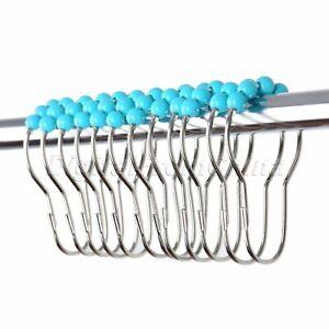 Five Metal Bead Type Hoist Shower Bathroom Curtain Hooks 12Pcs Stainless Steel