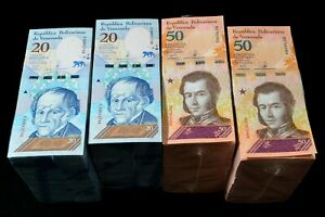 2018 Venezuela $20 & $50 Bolivares UNC 4 Bricks 2 Each 4000 Pcs New SKU323