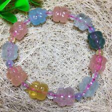 Genuine Natural Colorful Morganite Carving pig Beads Bracelet Aaa 9.8*12.8*9.6mm