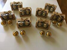 """Kate Aspen Twelve """"Harvest� Salt Pepper Shaker Sets White and Gold Toned Acorns"""