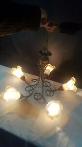 Bronze Iron Effect Chandelier 5 Light Frosted Fluted White & Brown Glass Shades