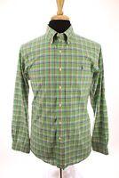 Ralph Lauren Button Down Shirt Custom Fit Long Sleeve Plaid Green Mens Sz Large