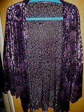brand new luxurious burnt-velvet purple evening jacket cover-up one size - plus