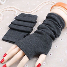 Womens Stretch Soft Wrist Arm Winter Fingerless Long Gloves Thermal Mittens Knit