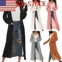 US Women's Knit Coat Split Pocket Thicken Sweater Long Sleeve Cardigan Plus Size