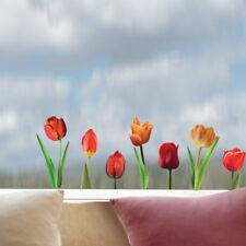 Aufkleber Sticker Wandsticker Wandaufkleber Tulpen Blumen Tulips Rot Fenster Bad