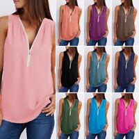 UK Women Summer Chiffon Vest Top Sleeveless Blouse Zipper Tank Tops T-Shirt Hot