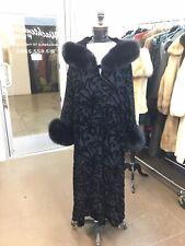 ADRIENNE LANDAU DESIGNER BLACK FOX TRIMMED BEADED COAT HOODED CLOAK