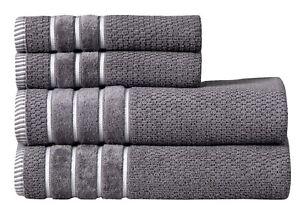 Rice Weave 4 Piece Cotton Bath Towel Set 100% Cotton 600 GSM Absorbent SILVER