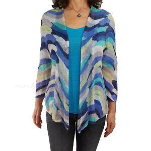 NIC + ZOE Sz Large Blue Spring Waves Print Linen Blend Cardigan Sweater Knit Top