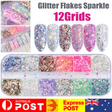 12 Color Holographic Nail Sequins Glitter Flakes Sparkle Confetti Art Decal