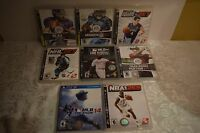 Sony Playstation 3 Lot of 8 NCAA NHL MLB NBA Tiger Woods Madden  Hoops Games