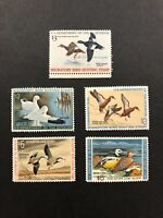 5 Duck Stamps, Mint Never Hinged RW 36-RW 40 - 1969-1973