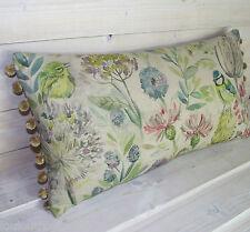 Handmade Voyage MORNING CHORUS Mayberry cushion cover bird 24 12 pompom wildlife